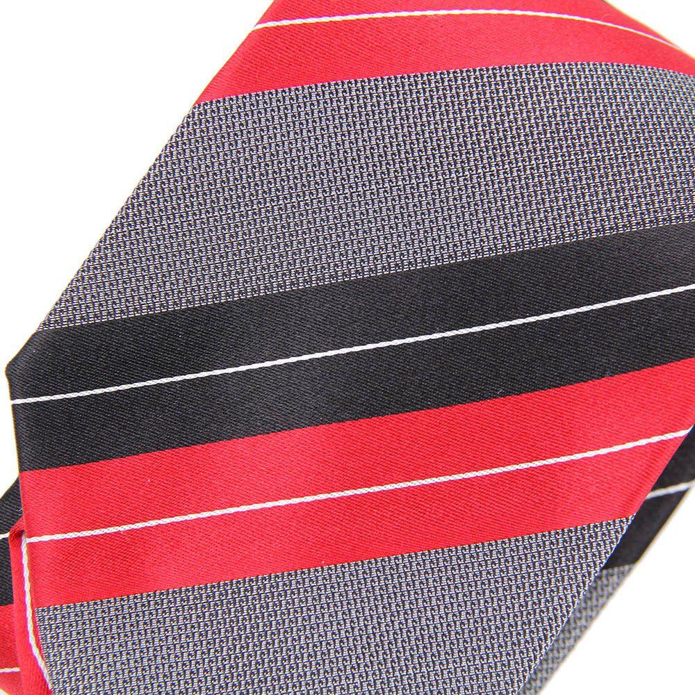 Галстук серого цвета DKNY с красными и черными полосами