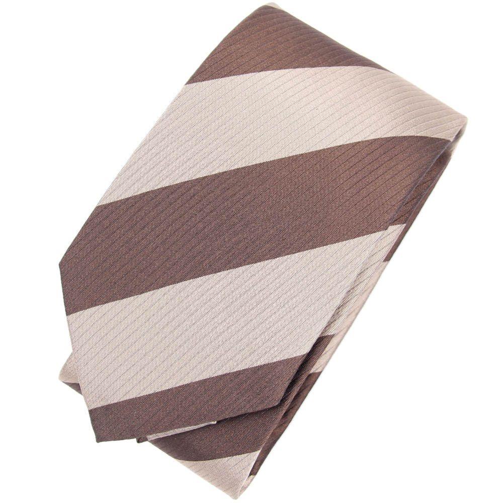 Коричневый галстук DKNY в широкую бежевую полоску