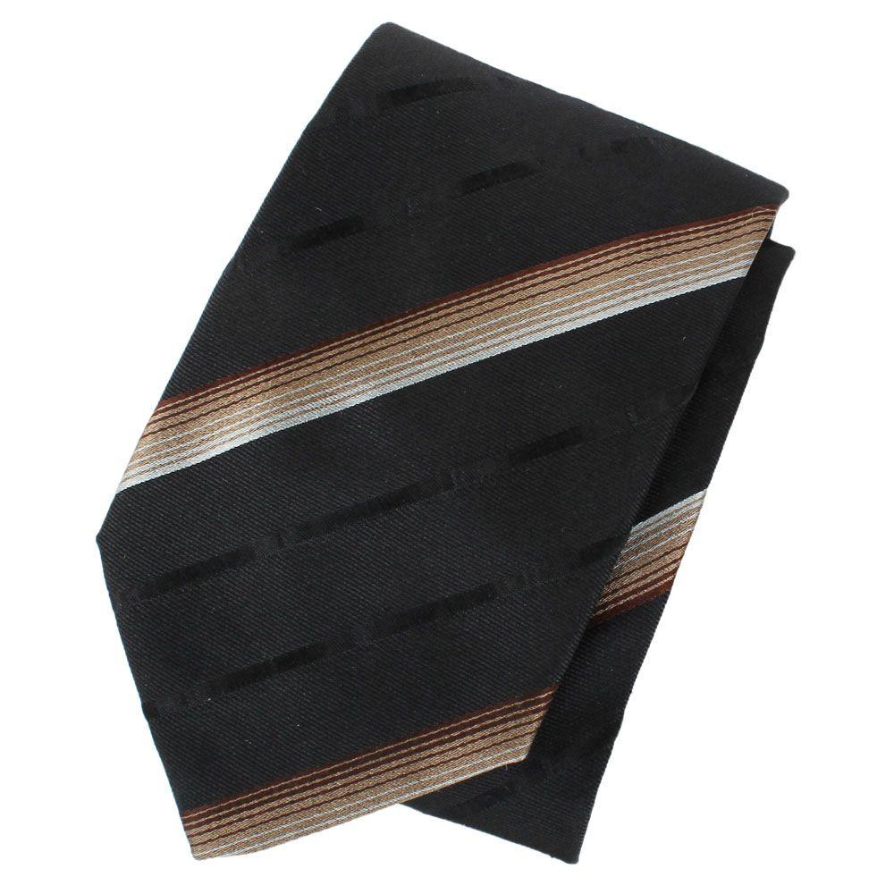Черный галстук DKNY шелковый с мелкими разноцветными полосками
