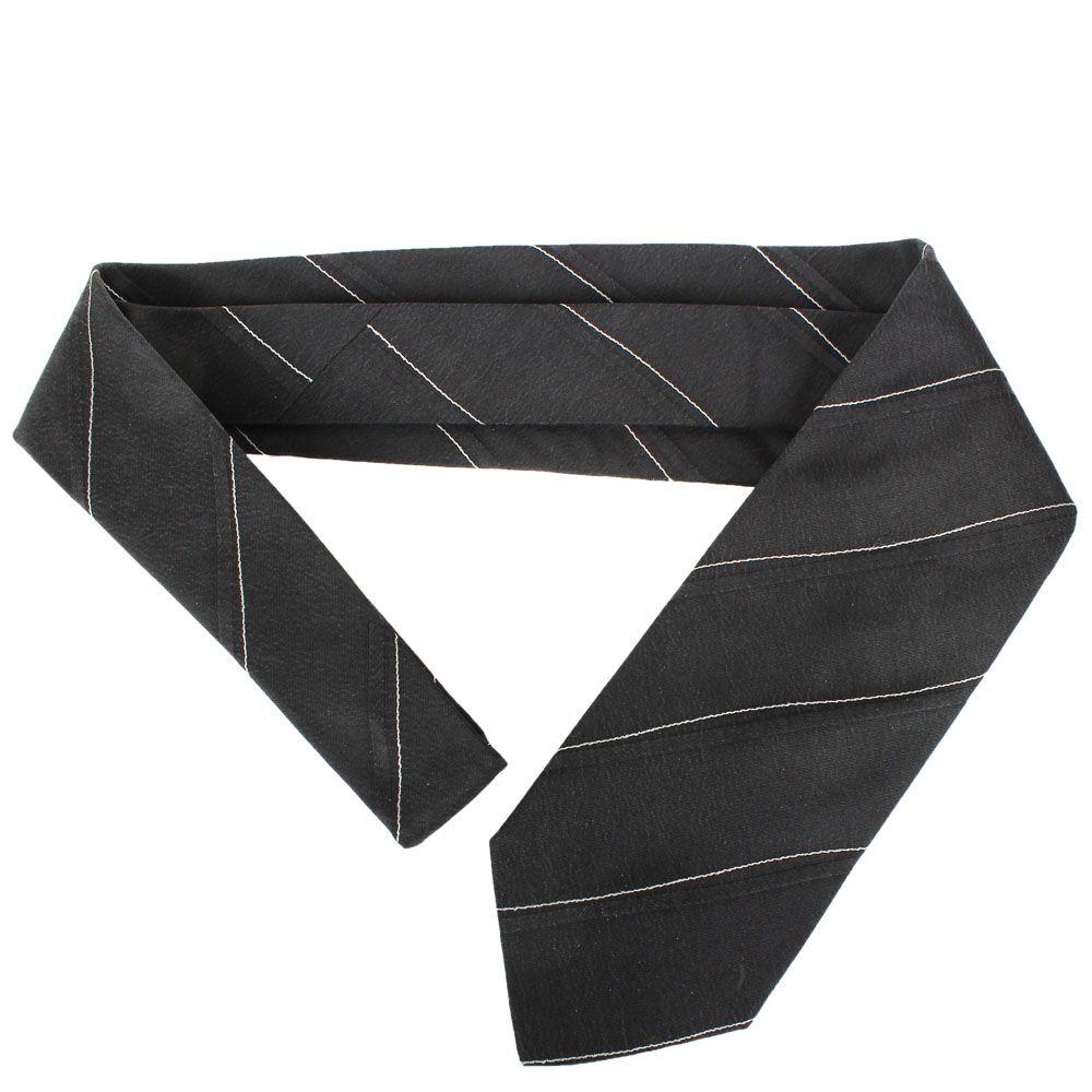 Черный галстук DKNY шелковый с тонкими  белыми полосками