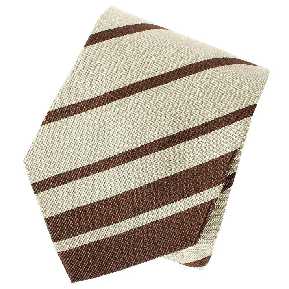 Галстук DKNY бежевого цвета с коричневыми полосками