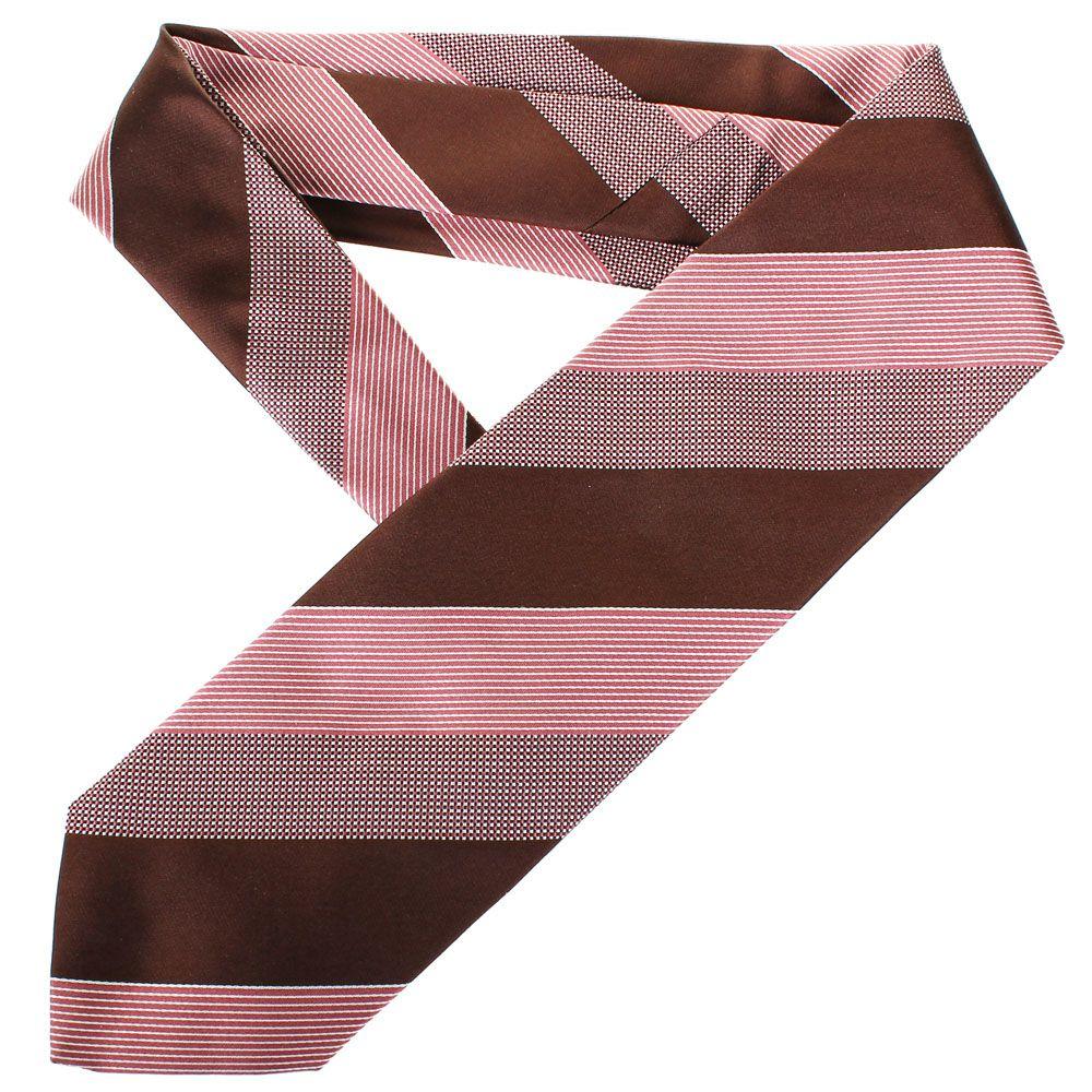 Галстук DKNY розового цвета в коричневую полоску с мелким геометрическим рисунком