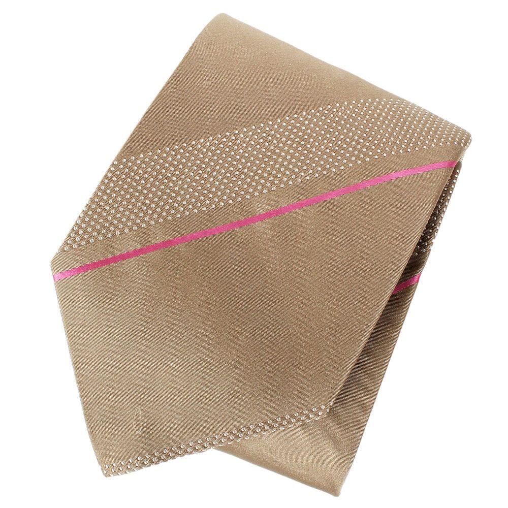Бежевый шелковый галстук DKNY с тонкой полосой розового цвета