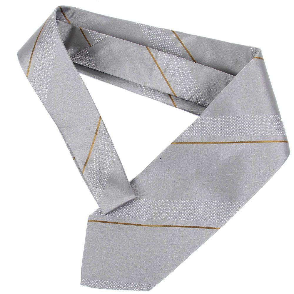 Серый галстук DKNY с тонкой коричневой полоской