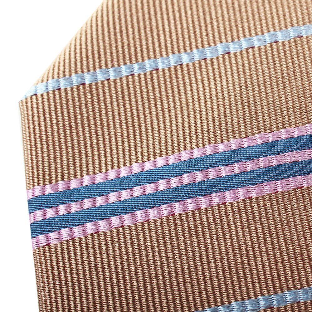 Галстук Nodus шелковый коричневого цвета в синюю фактурную полоску