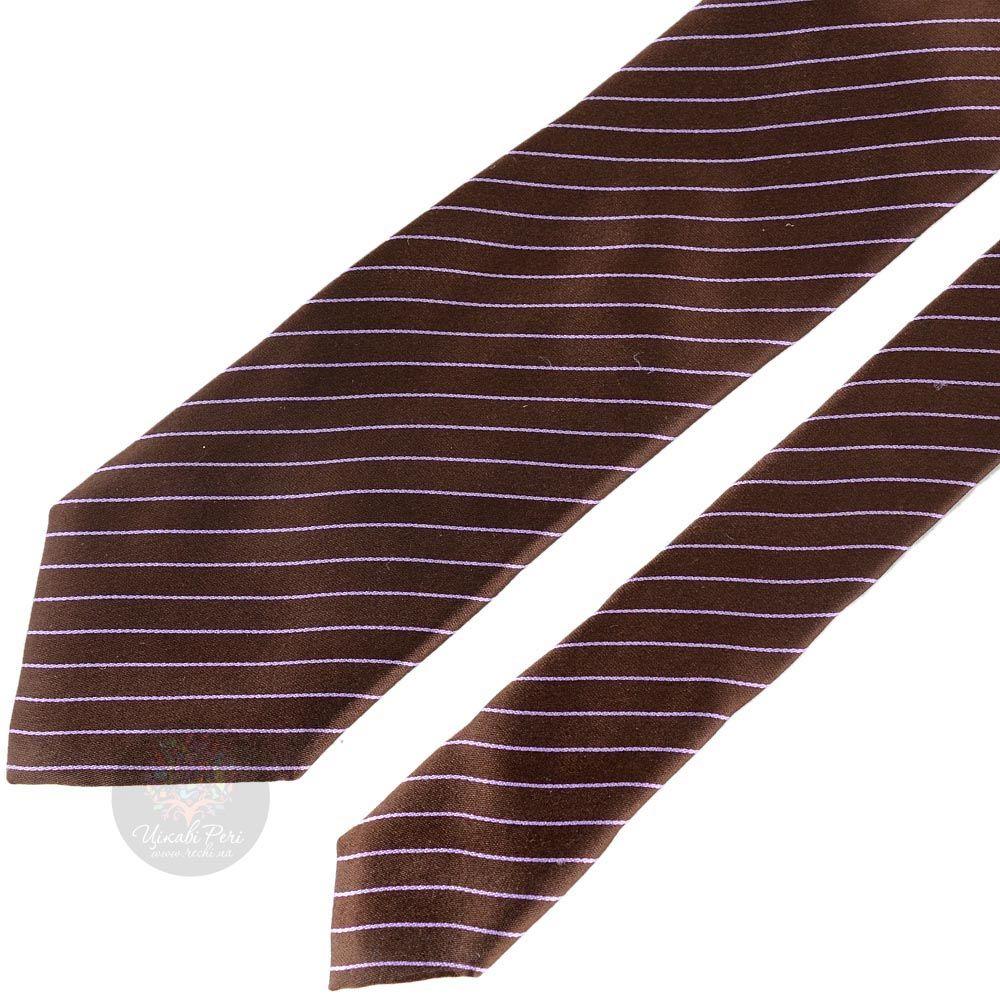 Галстук Nodus коричневого цвета в сиреневую полоску