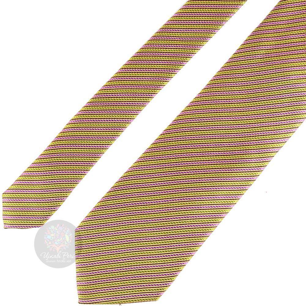 Галстук Nodus желто-оранжевый в розовую полоску