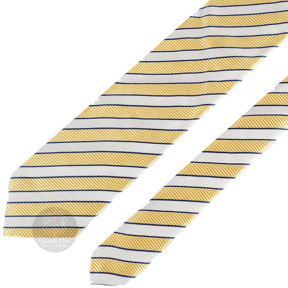 Галстук Nodus в желто-белую полоску