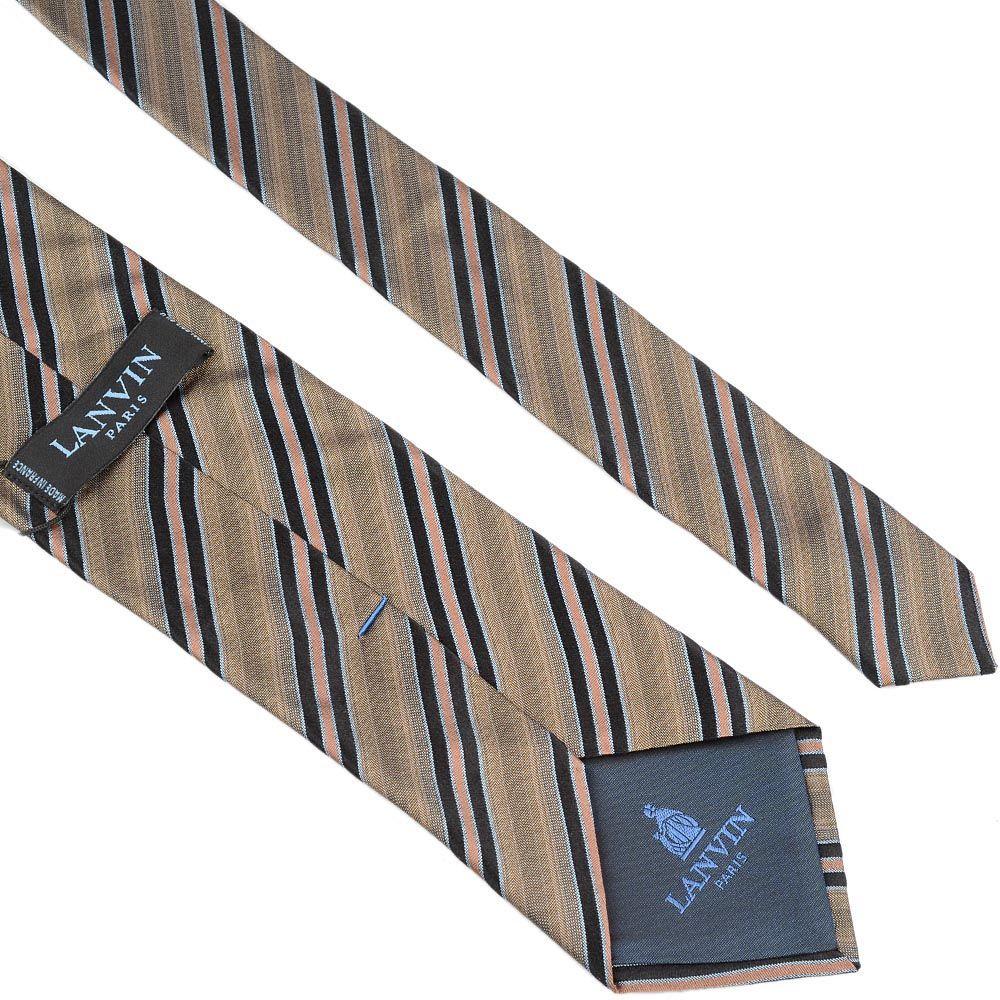 Шелковый галстук Lanvin серо-бежевый с черными и кремовыми полосами