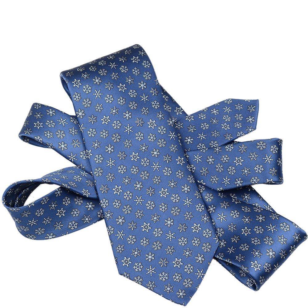 Шелковый галстук Lanvin синий со снежинками
