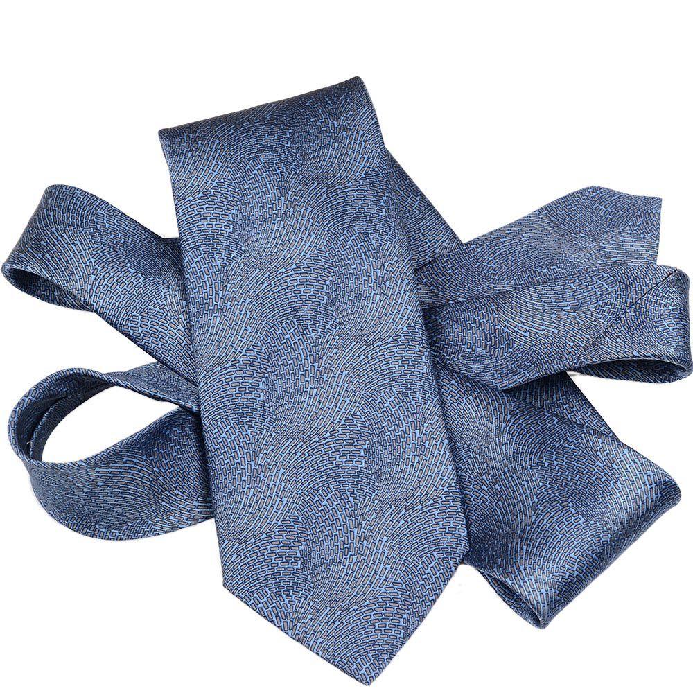 Шелковый галстук Lanvin синий с абстрактным серо-голубым рисунком