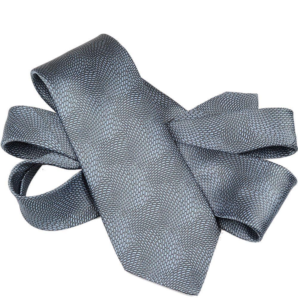 Шелковый галстук Lanvin серый с абстрактным универсальным рисунком