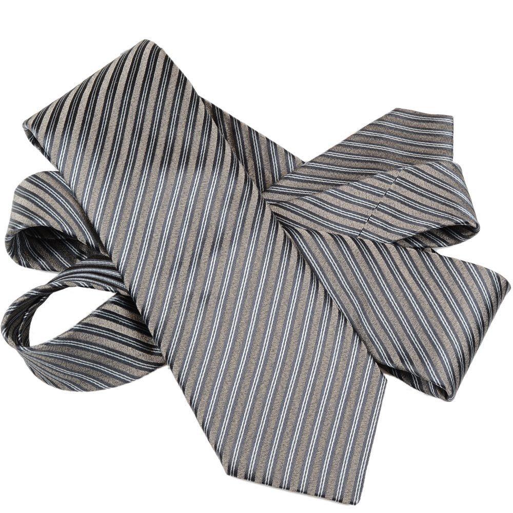 Шелковый галстук Lanvin серый строгий со светло-серыми полосами