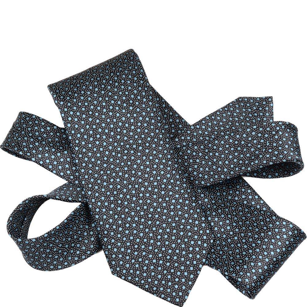 Шелковый галстук Lanvin черный с голубым принтом