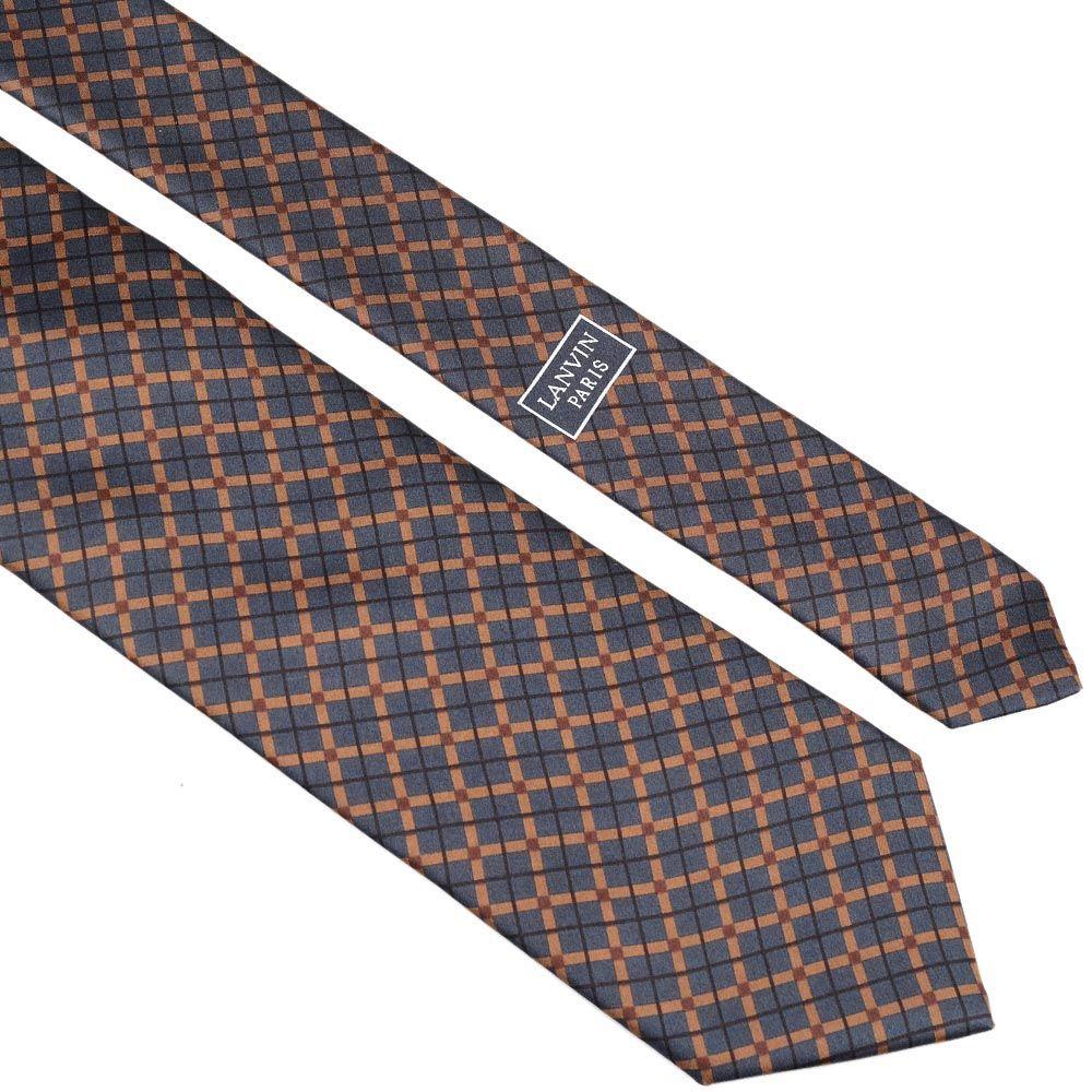 Шелковый галстук Lanvin серо-коричневый в клетку