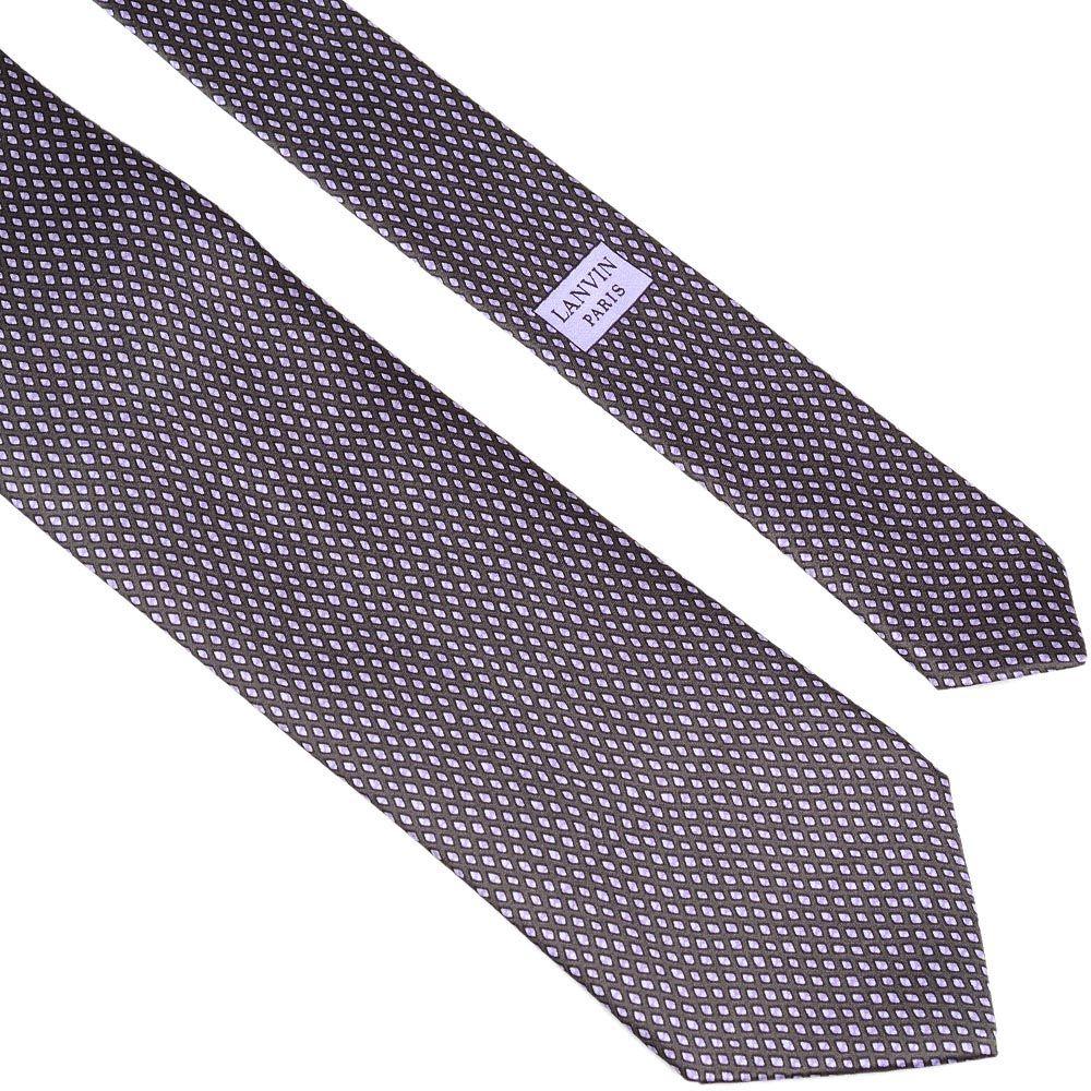 Шелковый галстук Lanvin лилово-серый с рисунком