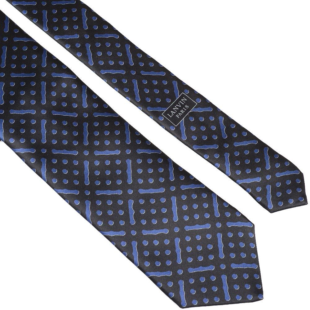 Шелковый галстук Lanvin черный с синим рисунком