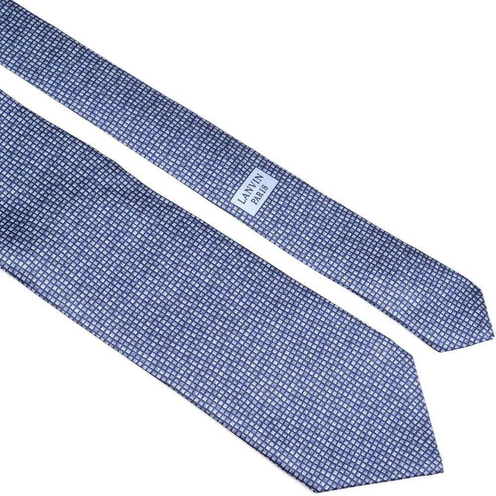 Шелковый галстук Lanvin темно-синий с серо-голубой мелкой клеткой