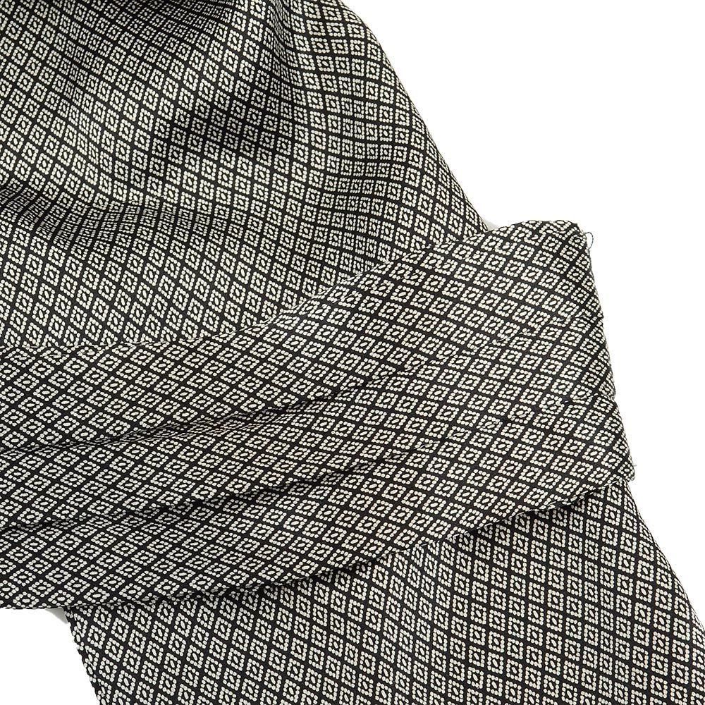 Шелковый мужской шейный платок Messori черно-серый с изысканным рисунком ромбами