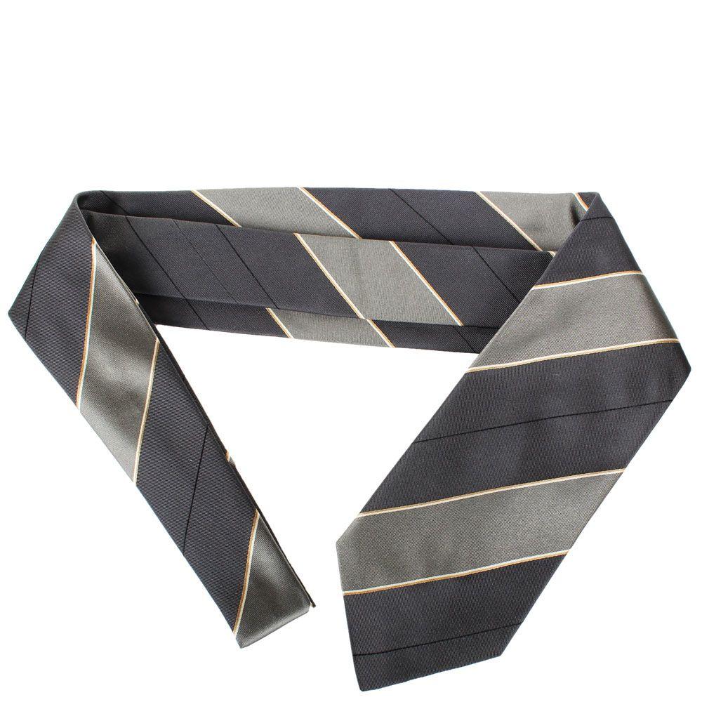 Серый галстук DKNY с полосками синего цвета