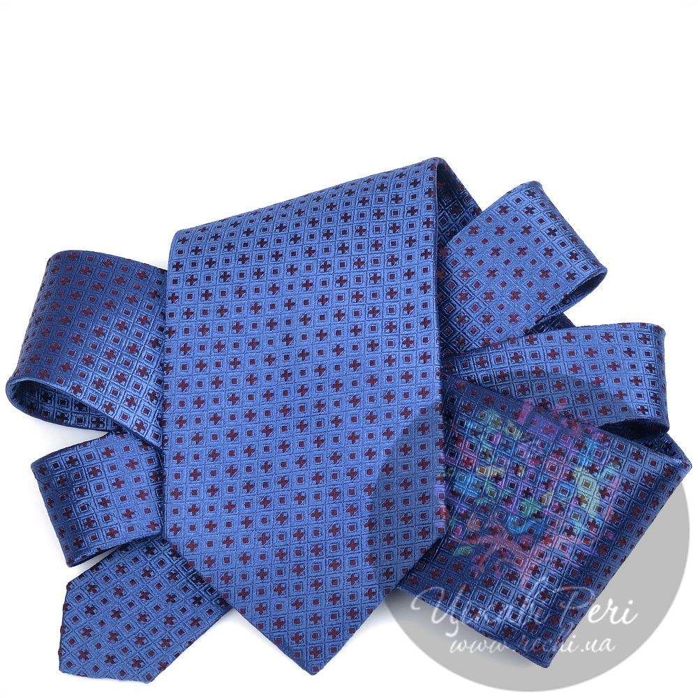 Галстук DKNY шелковый синий с мелким частым рисунком