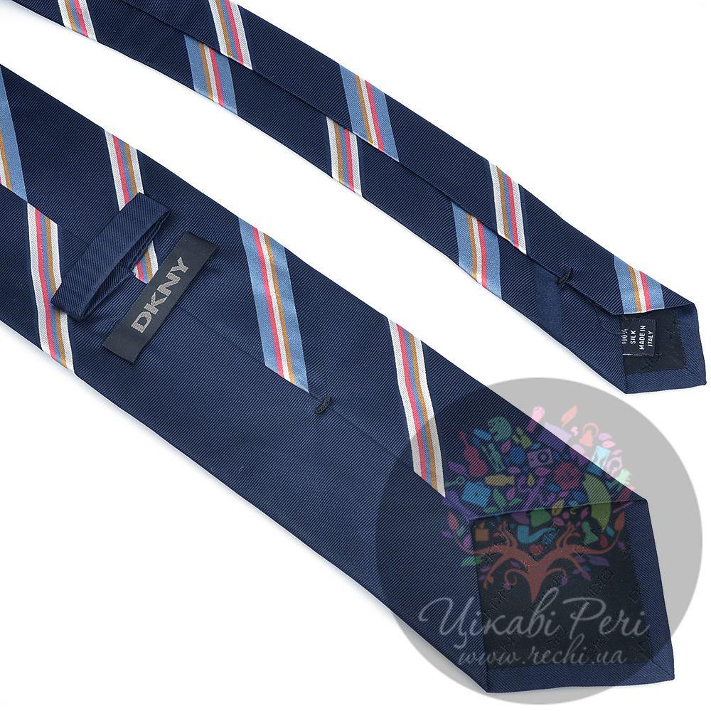 Галстук DKNY шелковый темно-синий с голубыми, белыми, розовыми полосами