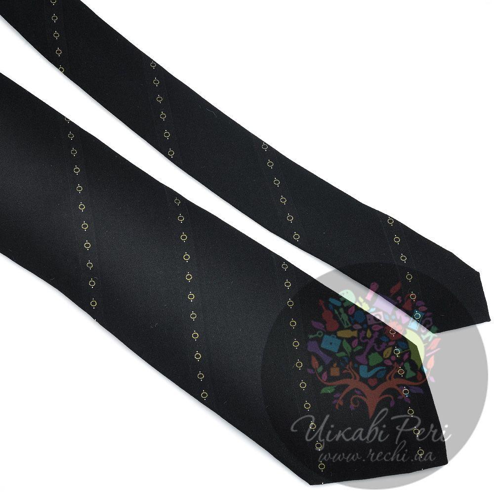 Галстук DKNY черный со сдержанными орнаментальными полосами