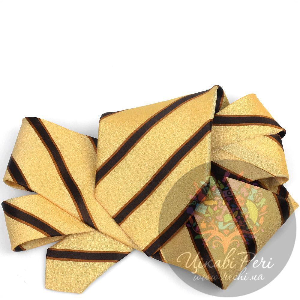 Галстук DKNY шелковый гладкий коричнево-желтый с полосами
