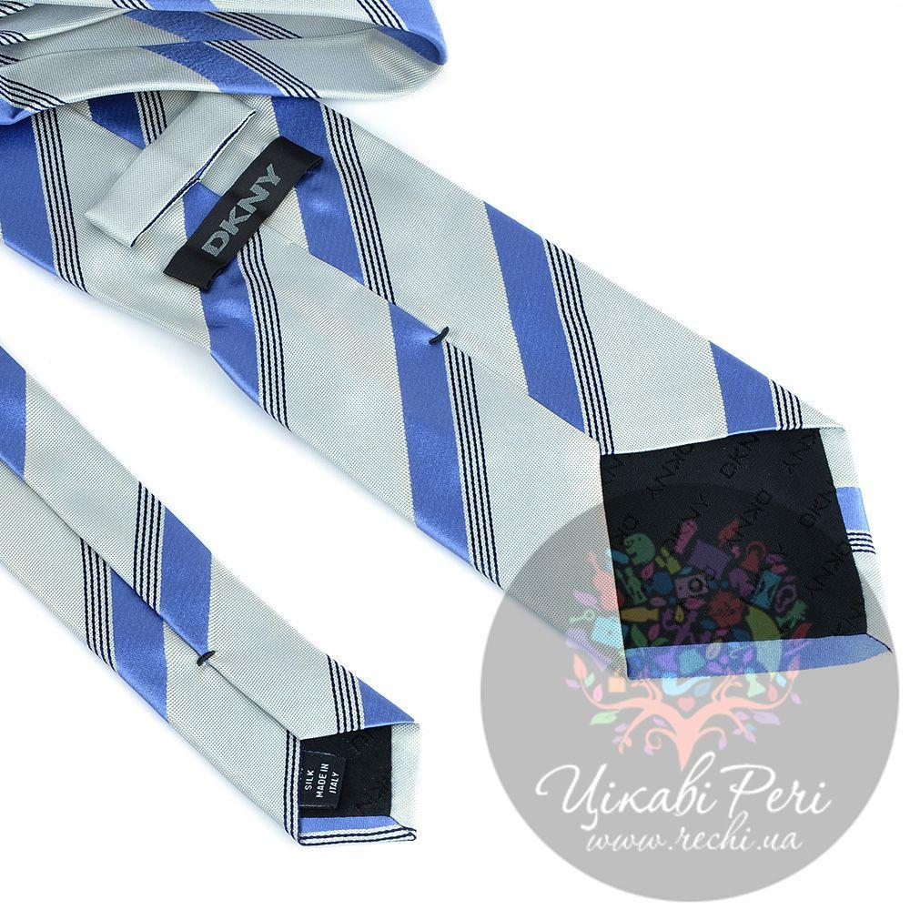 Галстук DKNY шелковый светлый с голубыми полосами