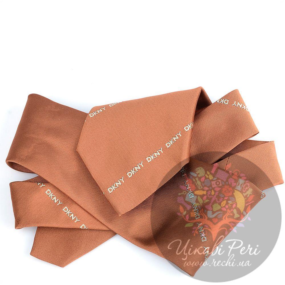 Галстук DKNY шелковый стильный оранжевый