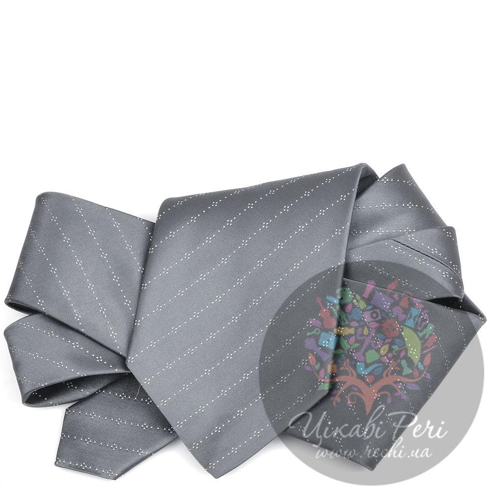 Галстук DKNY шелковый гладкий серый с полосами из точек