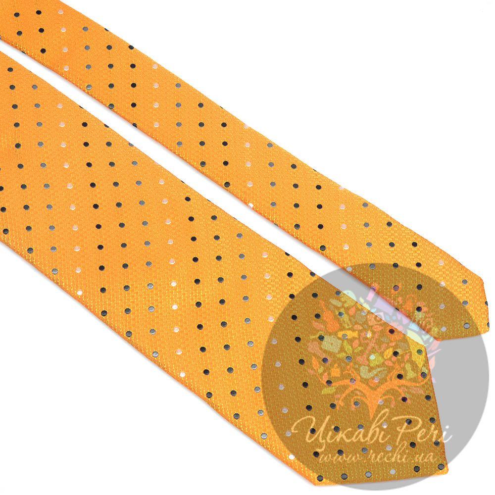 Галстук Nodus шелковый яркий желтый в точку