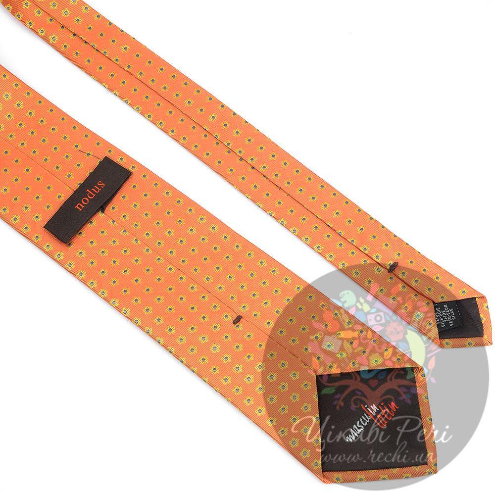 Галстук Nodus шелковый оранжевый в мелкий цветочек