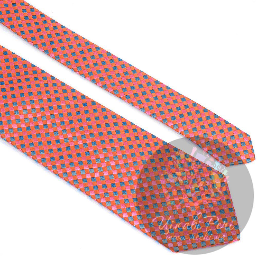 Галстук Nodus шелковый бирюзово-оранжевый