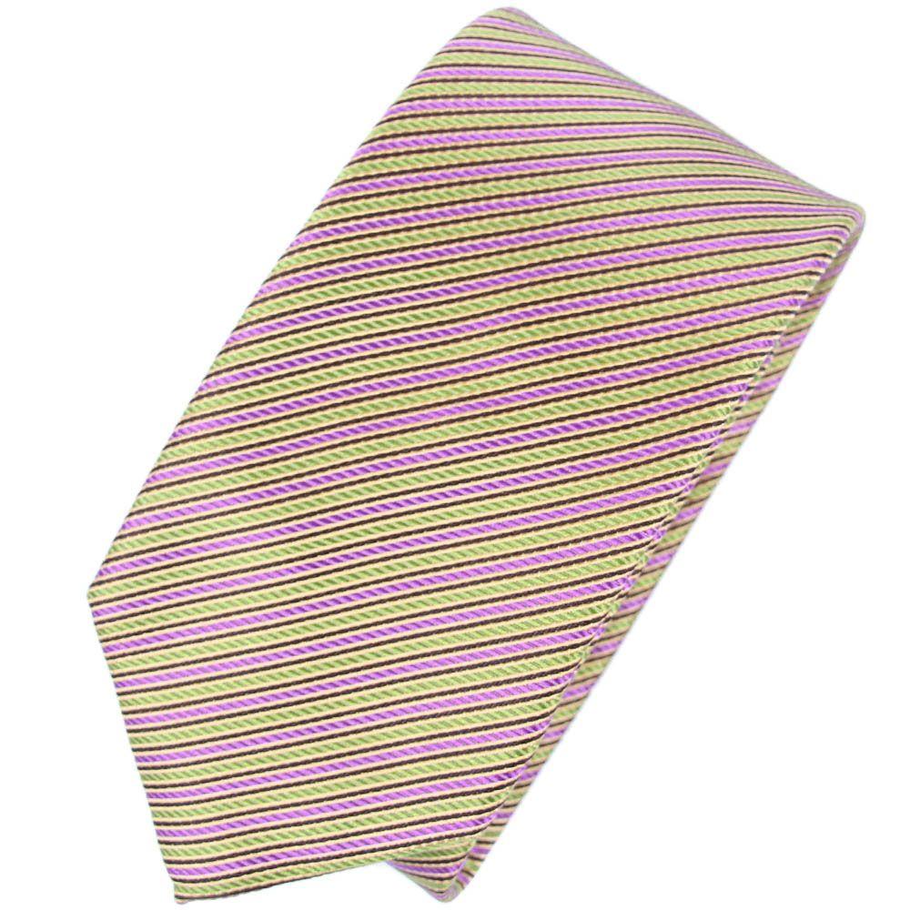 Галстук Nodus шелковый в полосу сиреневого и лимонного цвета