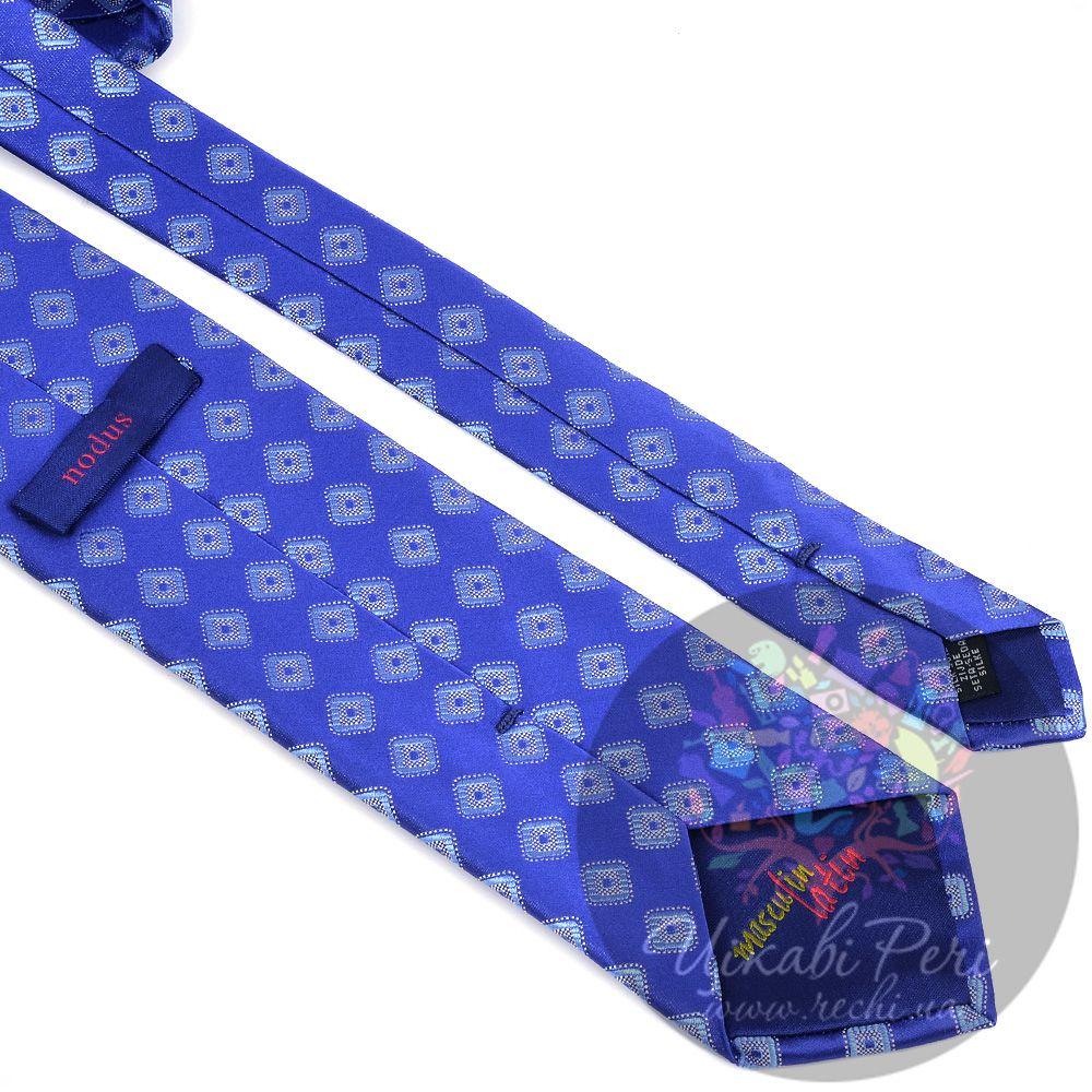 Галстук Nodus шелковый яркий синий с голубыми ромбами