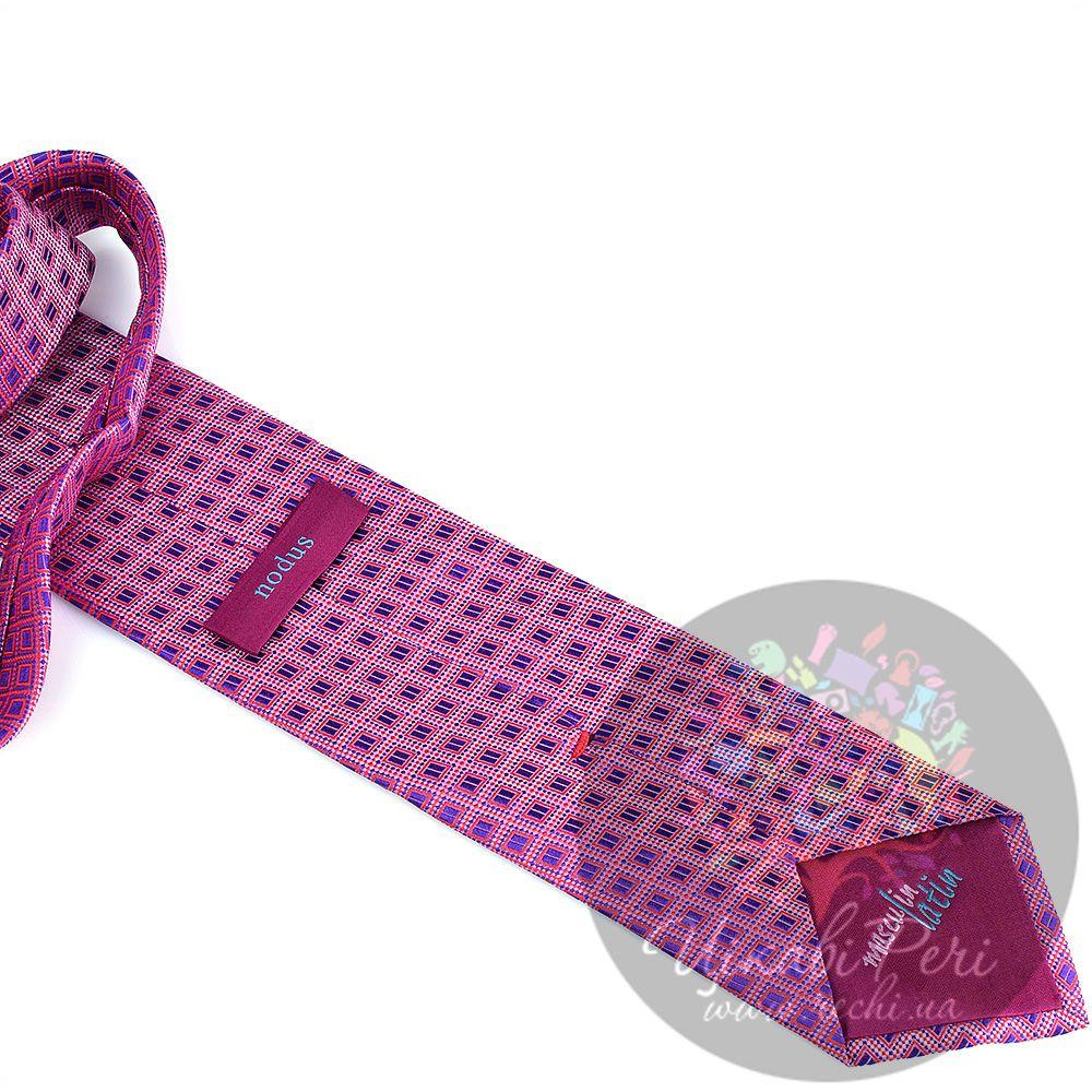 Галстук Nodus шелковый яркий розовый с сиреневыми ромбиками