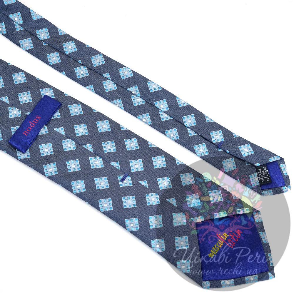 Галстук Nodus шелковый серый в голубой ромб