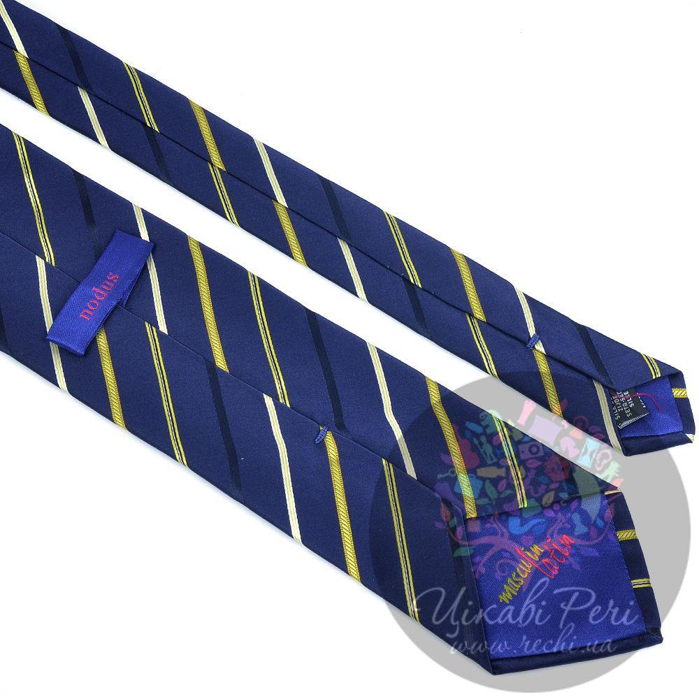 Галстук Nodus шелковый классический синий с белой и желтой полосой