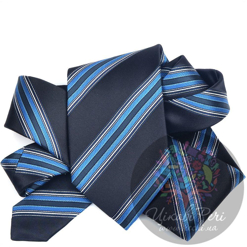 Галстук Nodus шелковый классический черно-синий с голубыми полосами
