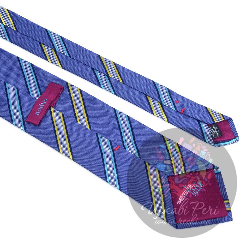 Галстук Nodus шелковый синий с интересными клетчатыми полосами