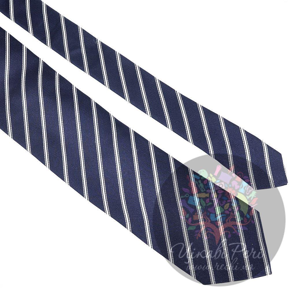 Галстук Trussardi классический шелковый темно-синий в белую полосу