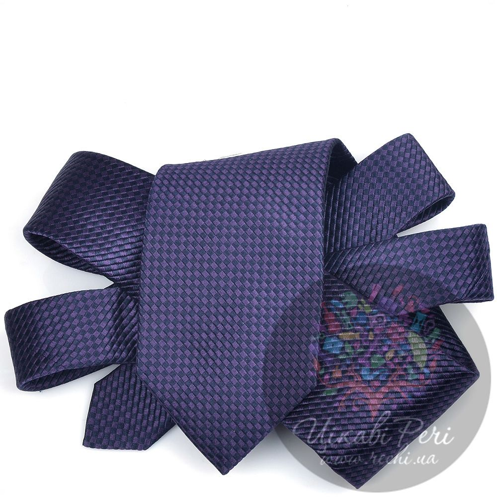 Галстук Trussardi шелковый с черно-фиолетовым роскошным плетением