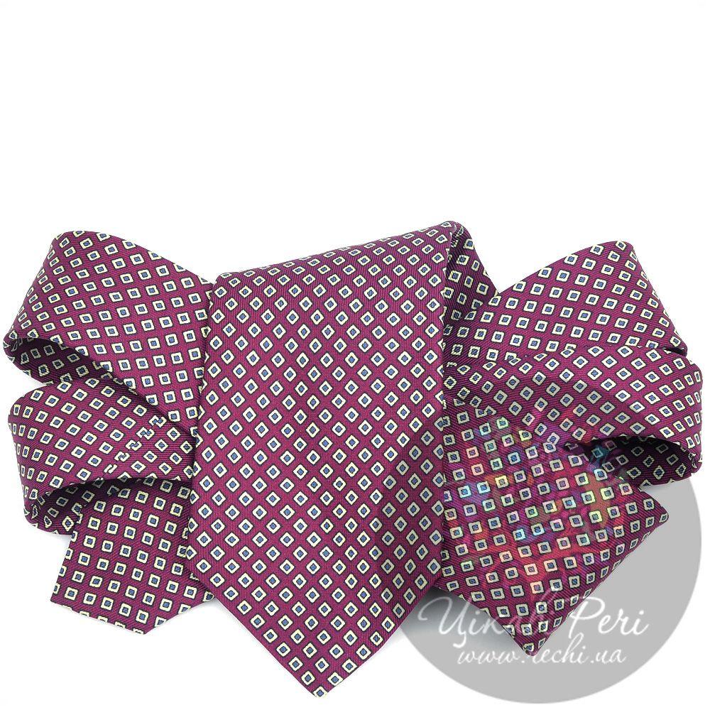 Галстук Valentino шелковый бордовый с ромбами