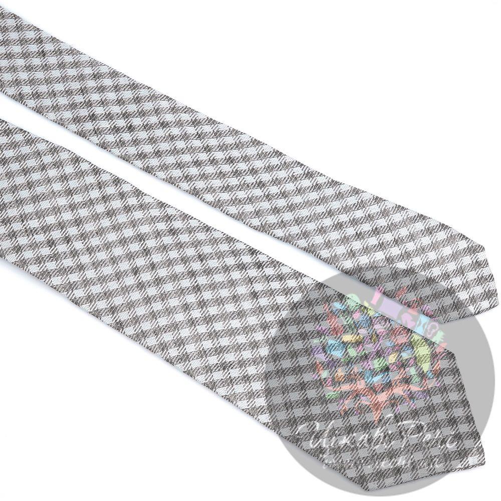 Галстук Valentino шелковый светло-серый в клетку