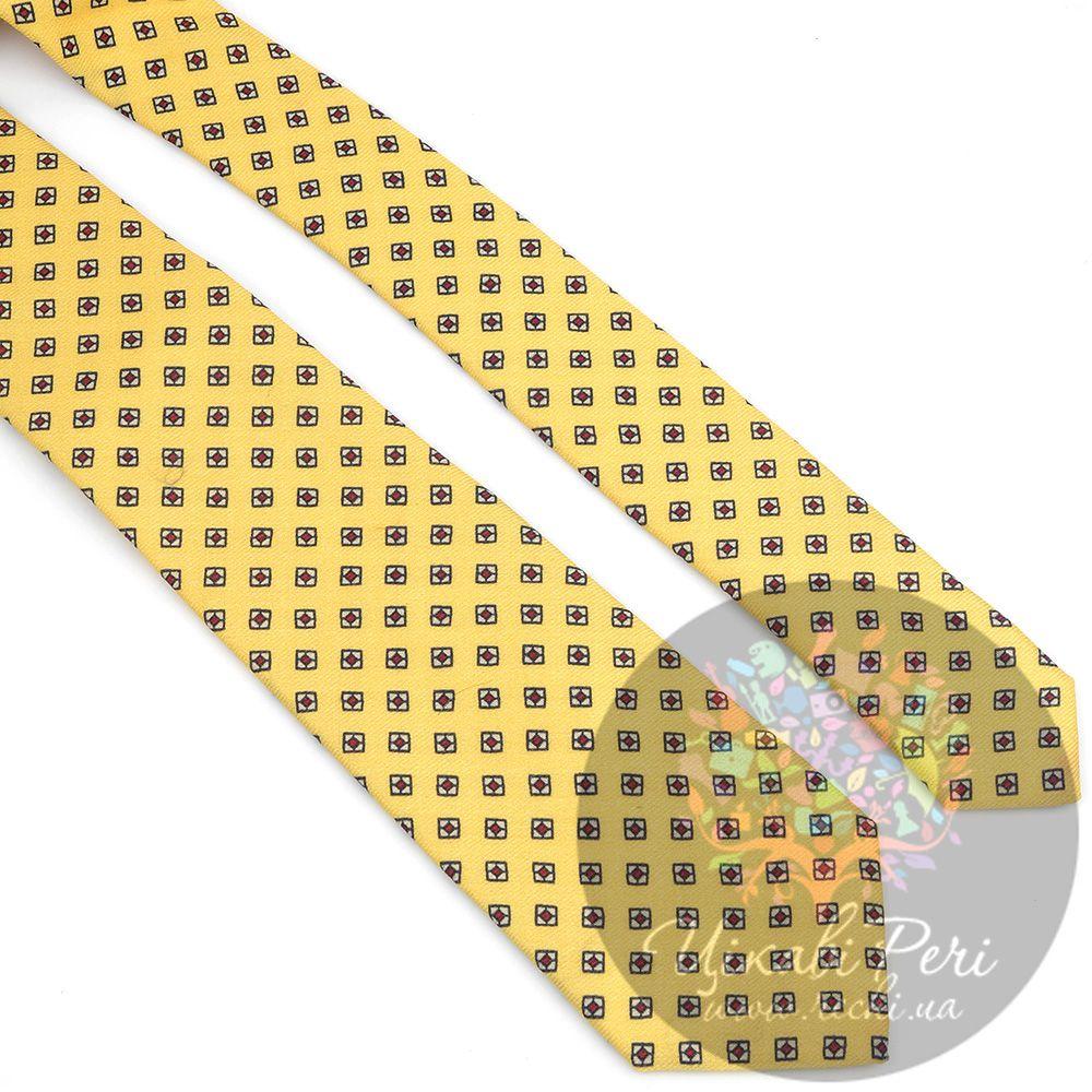 Галстук Valentino шелковый мягкого желтого цвета с ромбами