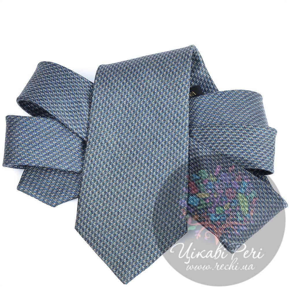Галстук Valentino шелковый голубовато-серый с мелким рисунком