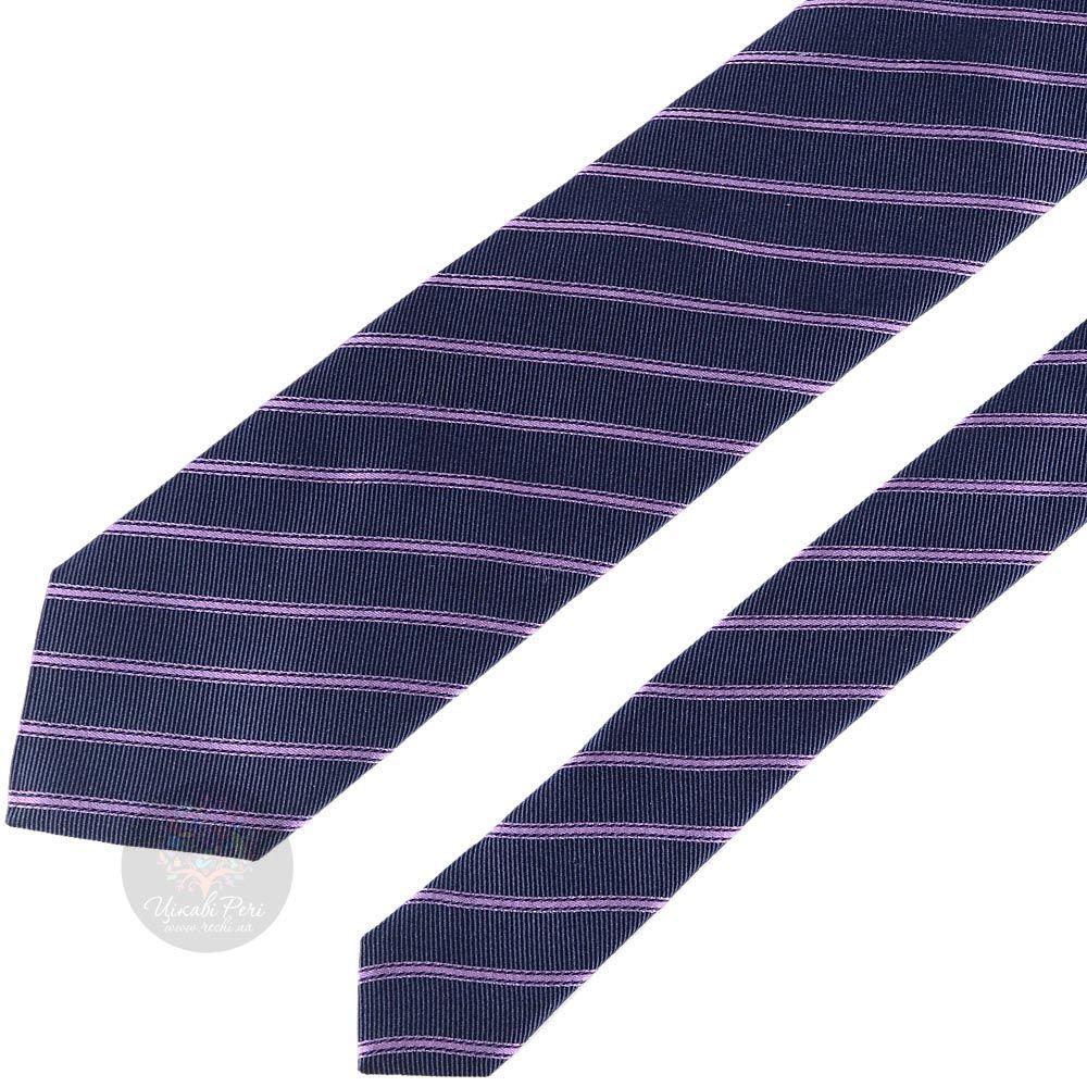 Галстук Trussardi темно-синего цвета в сиреневую полоску