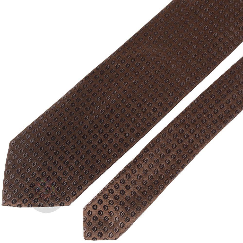 Галстук Trussardi коричневый с мелким орнаментом