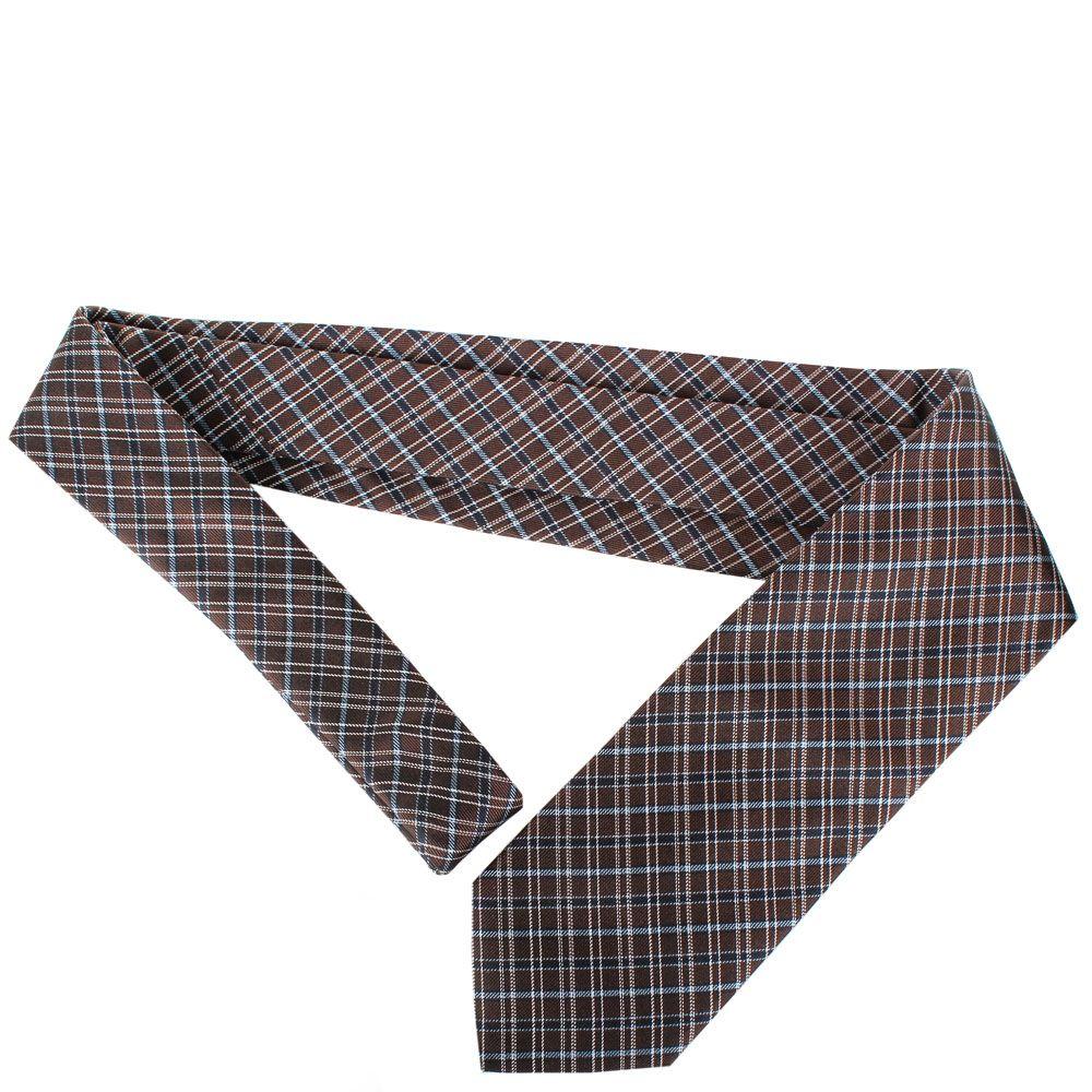 Галстук Trussardi коричневого цвета с геометричным рисунком голубого цвета
